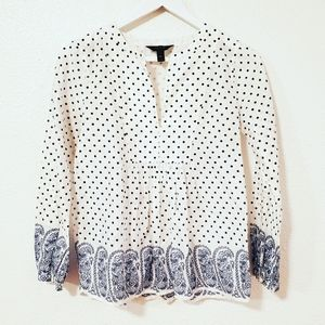 J Crew White Blue Polka Dot Floral Long SleevesTop